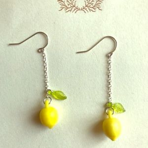 Vintage Lemon 🍋 Fruit Bead Silver Dangle Earrings
